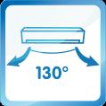 Diffusion d'air horizontale à 130°