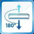 Diffusion d'air verticale à 180°